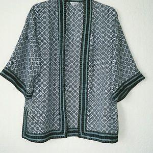 Max Studio Black and Green Print Kimono Top